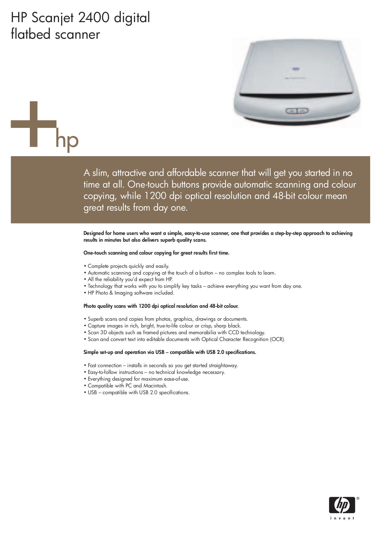 hp scanjet 2400 scanner driver download