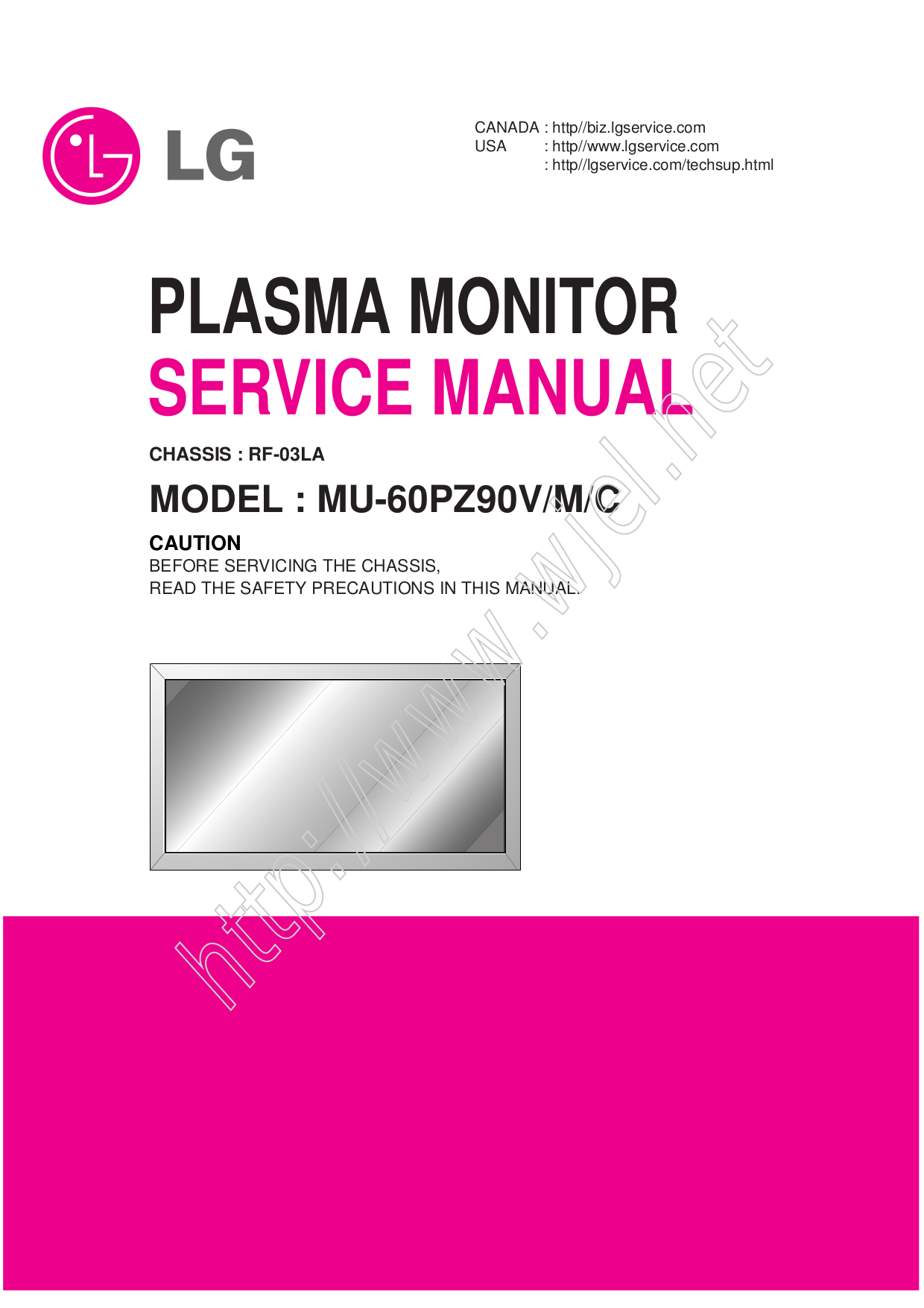 pdf for LG Monitor MU-60PZ90V manual