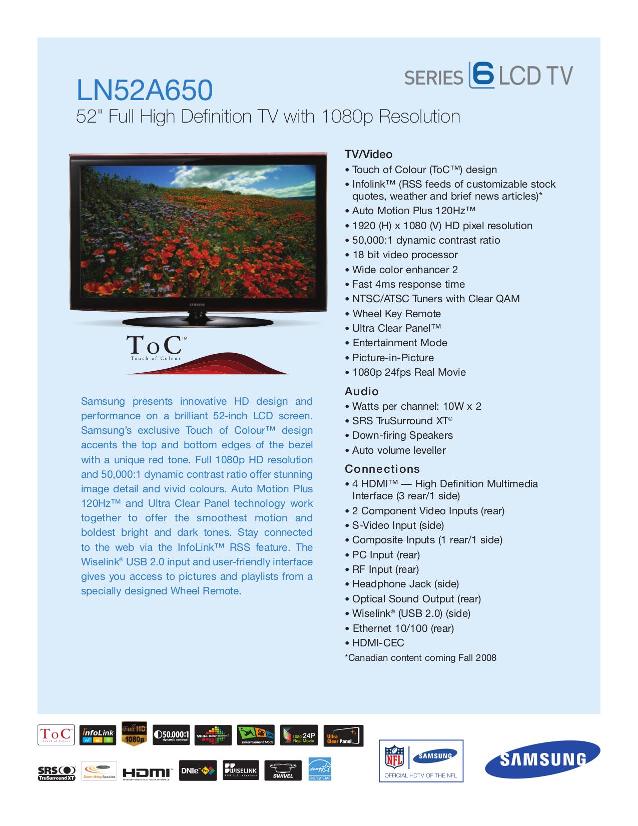 download free pdf for samsung ln52a650 tv manual rh umlib com samsung ln52a650a manual Samsung Refrigerator Repair Manual