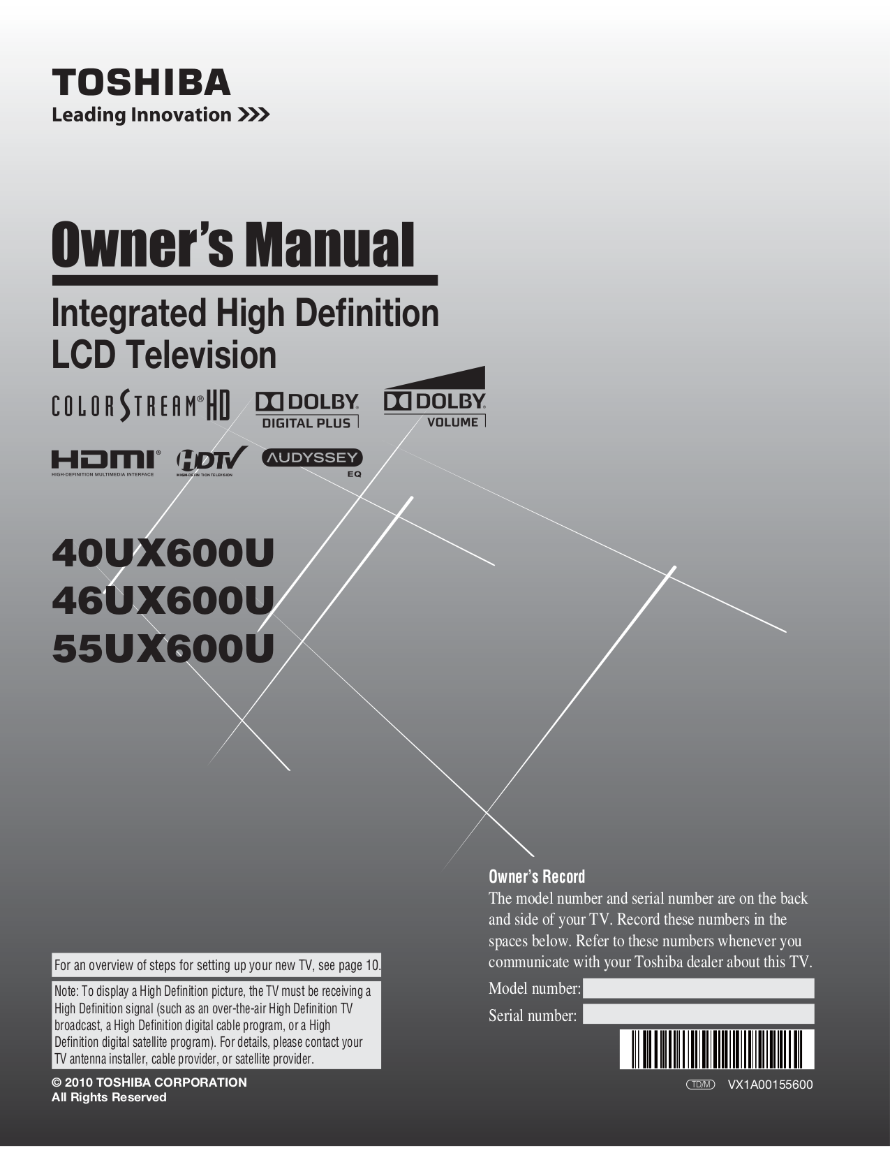 download free pdf for toshiba regza 40ux600u tv manual rh umlib com Toshiba Satellite Service Manual 52HM95 Toshiba Manual TheaterWide