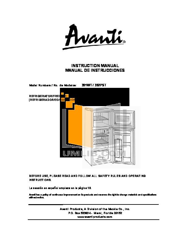 pdf for Avanti Refrigerator 392PST manual