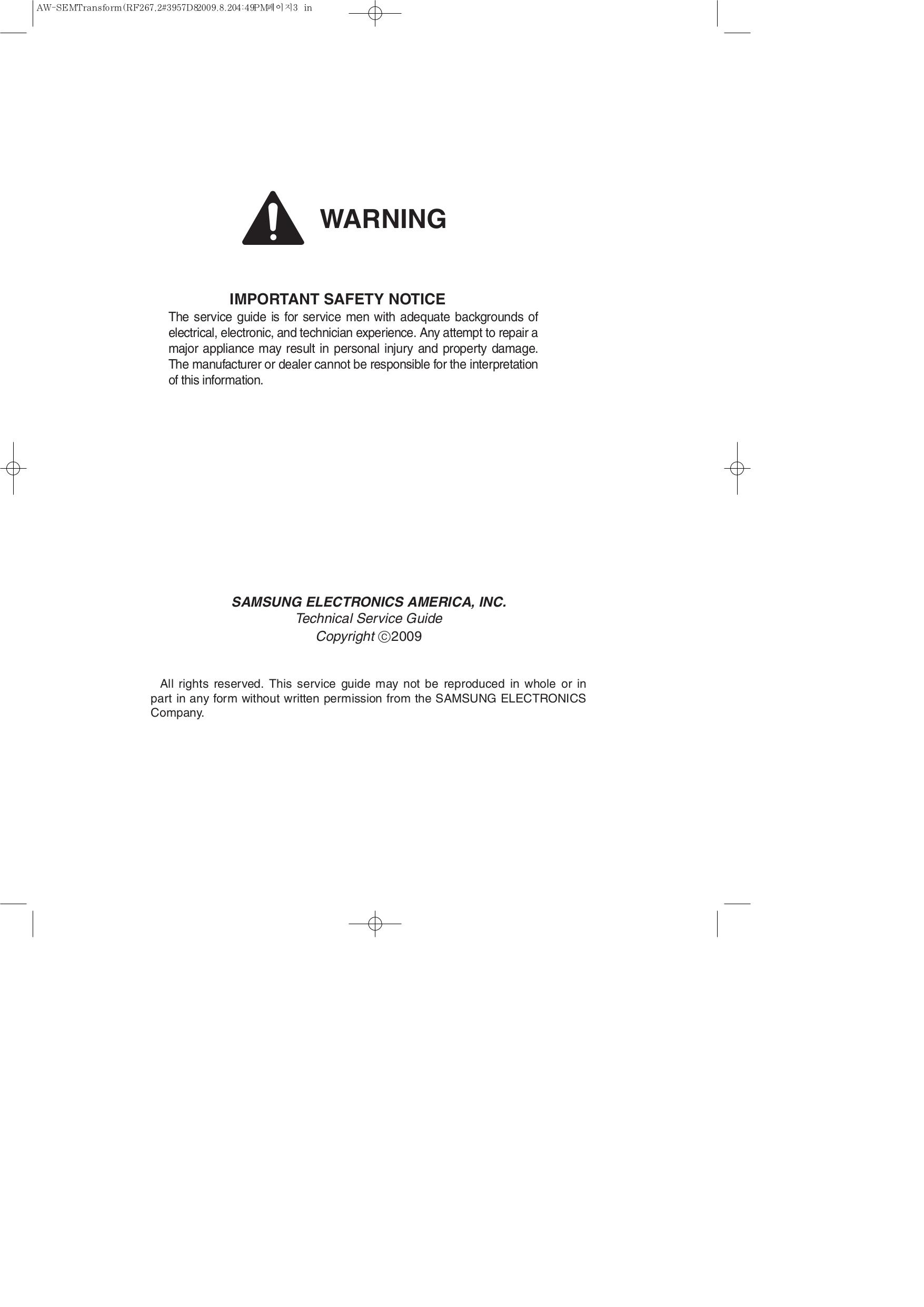 Samsung Refrigerator RF267AEPN pdf page preview