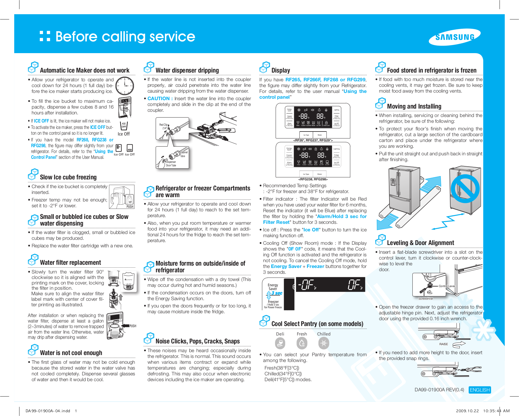 pdf for Samsung Refrigerator RF267AEPN manual