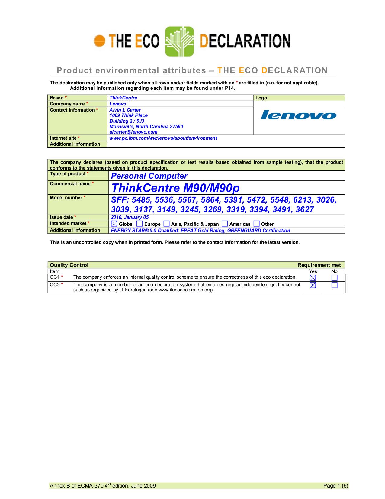 pdf for Lenovo Desktop ThinkCentre M90 5391 manual