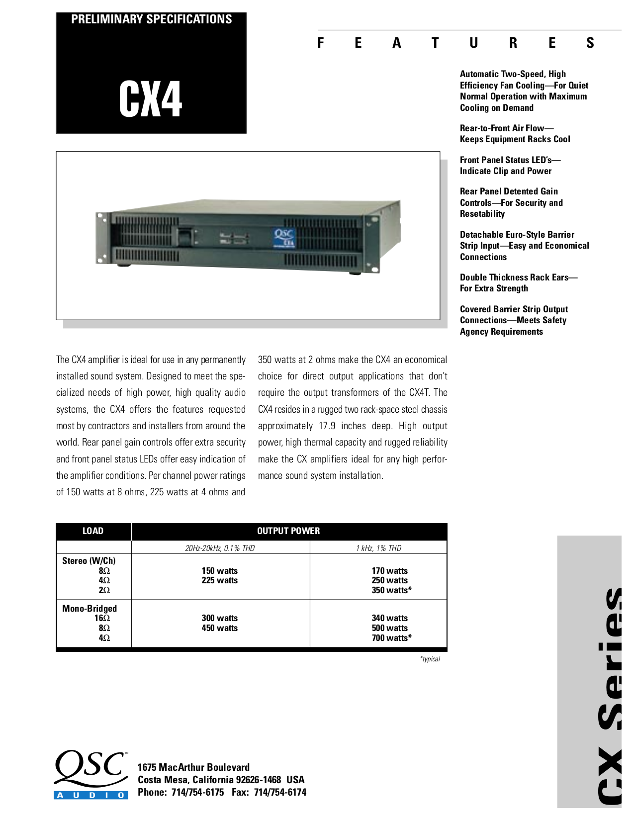 download free pdf for qsc cx4 amp manual rh umlib com CX4 Storm Accessories CX4 SBR
