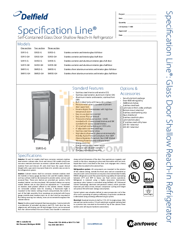 pdf for Delfield Refrigerator SAR3S-G manual