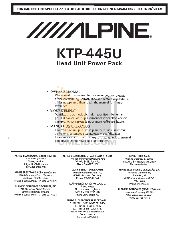 500KTP445U.PDF 0 wat download free pdf for alpine ktp 445 car amplifier manual alpine ktp-445u wiring harness at bayanpartner.co
