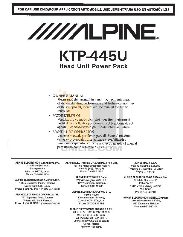 500KTP445U.PDF 0 wat download free pdf for alpine ktp 445 car amplifier manual alpine ktp-445u wiring harness at n-0.co