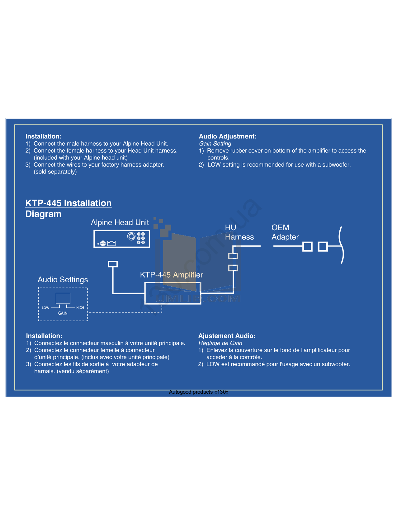 PDF manual for Alpine Car Amplifier KTP-445