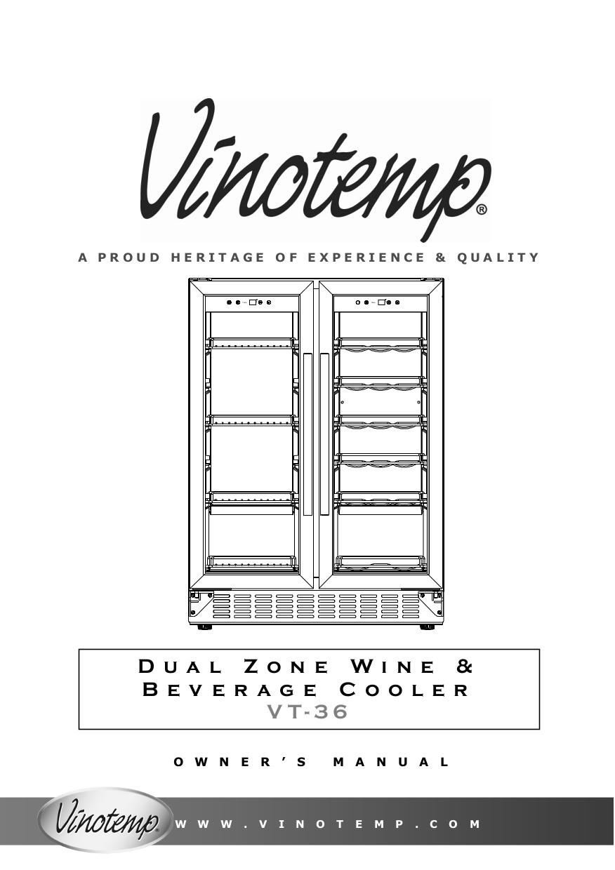 pdf for Vinotemp Refrigerator VT-34 manual