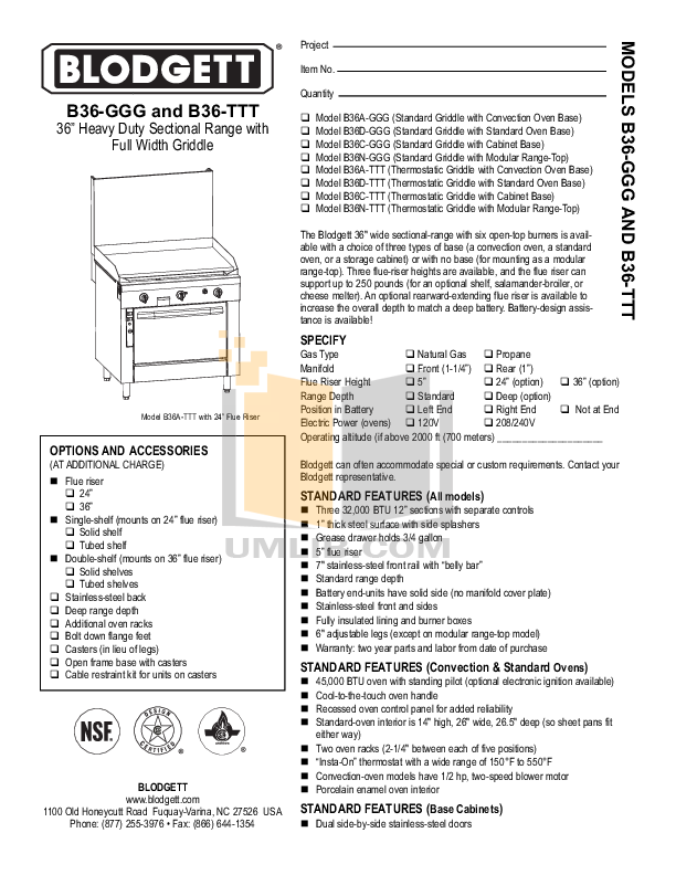 pdf for Blodgett Range B36N-GGG manual