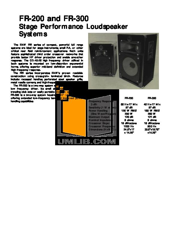 pdf for Eaw Speaker System FR300 manual