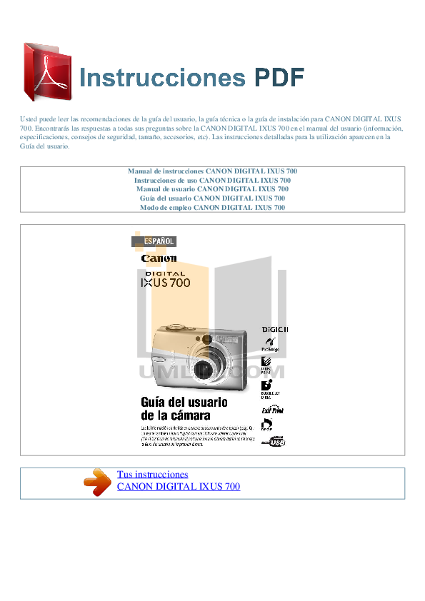 pdf for Canon Digital Camera IXUS 700 manual