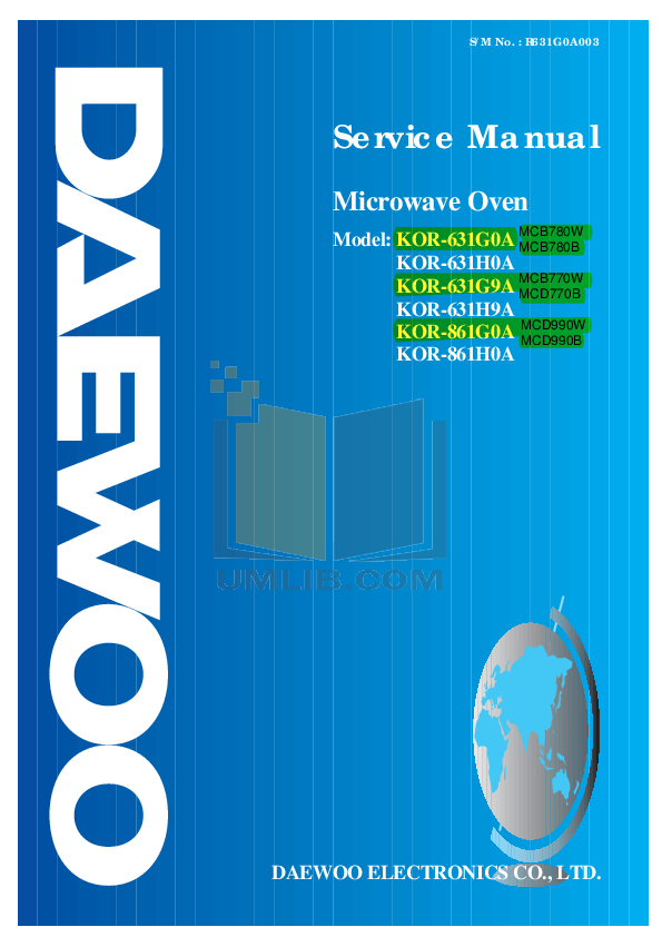 pdf for Daewoo Microwave MCD990B manual