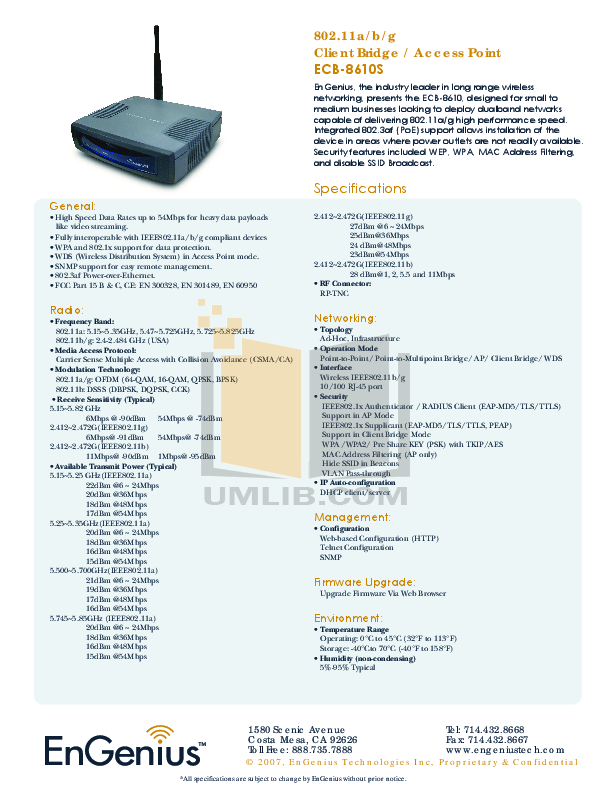pdf for EnGenius Other ECB-8610 Network manual