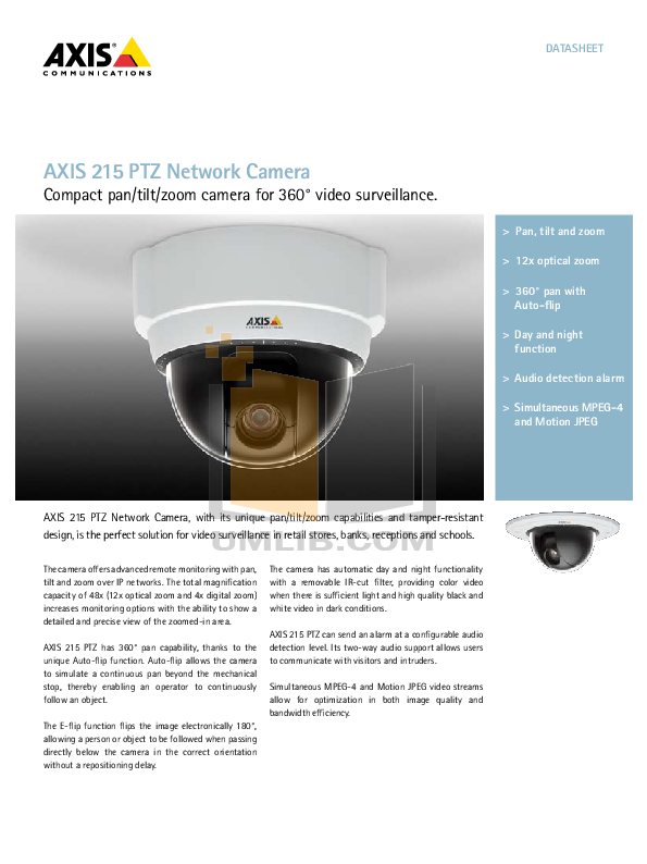 pdf for Axis Security Camera 215 PTZ manual