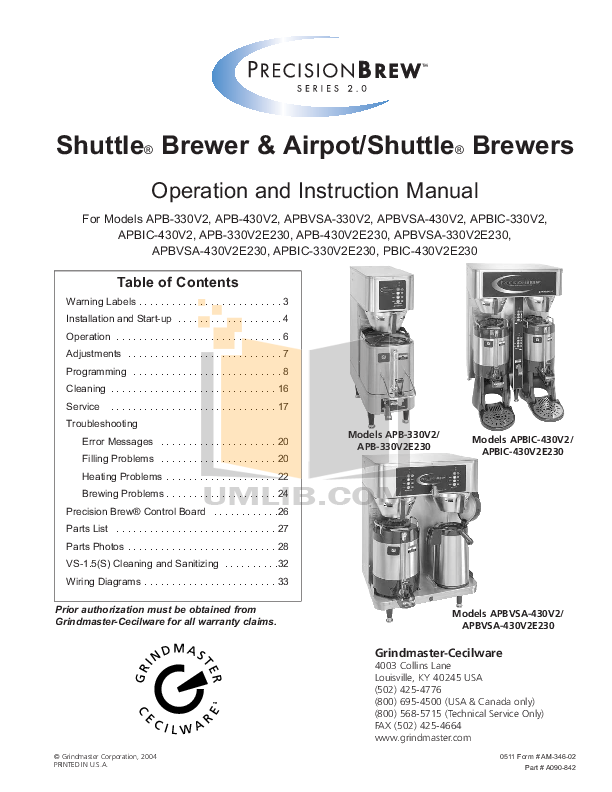 pdf for Cecilware Other F-100 Oil Filtration System manual