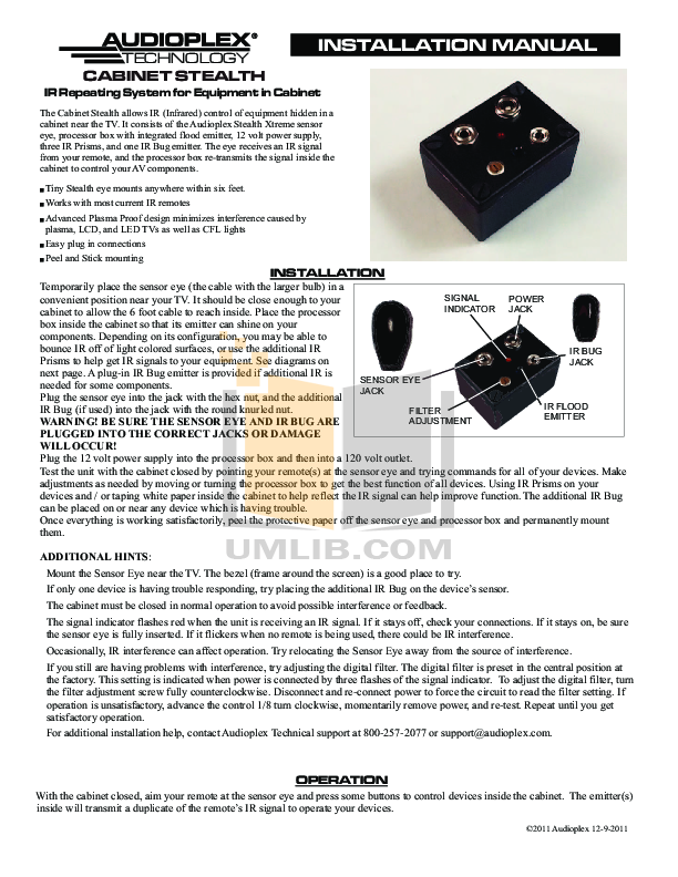 pdf for Audioplex Other S-2 IR Signal System manual