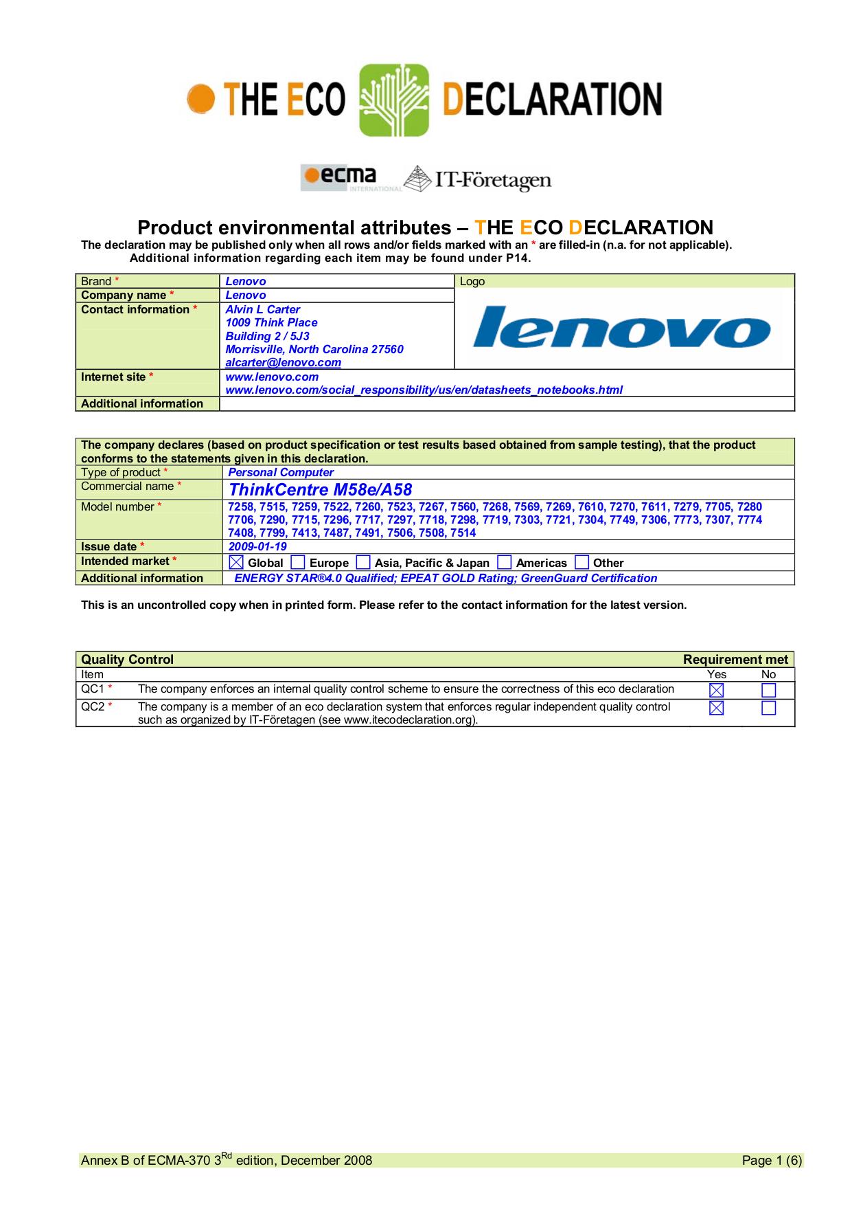 pdf for Lenovo Desktop ThinkCentre A58 7706 manual