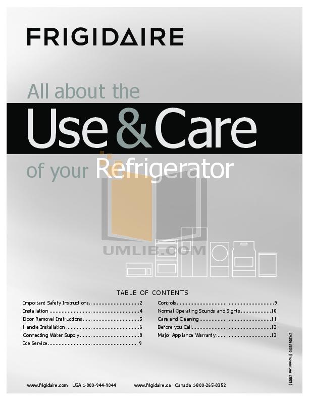 pdf for Frigidaire Refrigerator FFHT1826LM manual