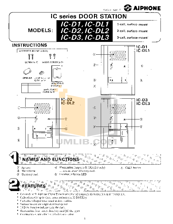 pdf for Aiphone Other IC-2AD Intercoms manual