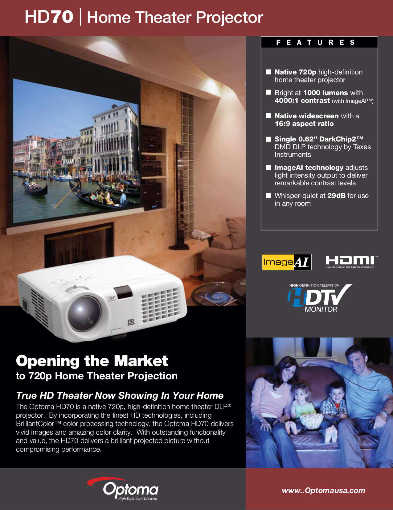 pdf for Optoma Projector HD70 manual