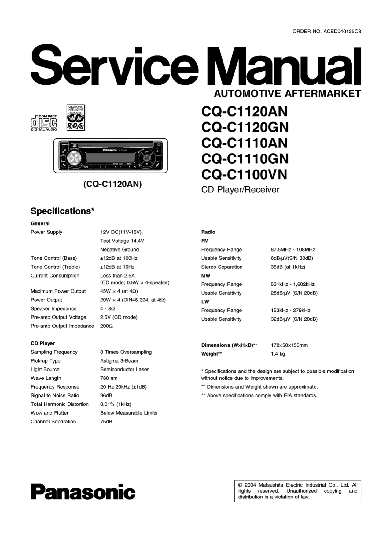 Panasonic Cq C7103u Wiring Diagram Electrical Diagrams Cd Manual Pdf And Schematics