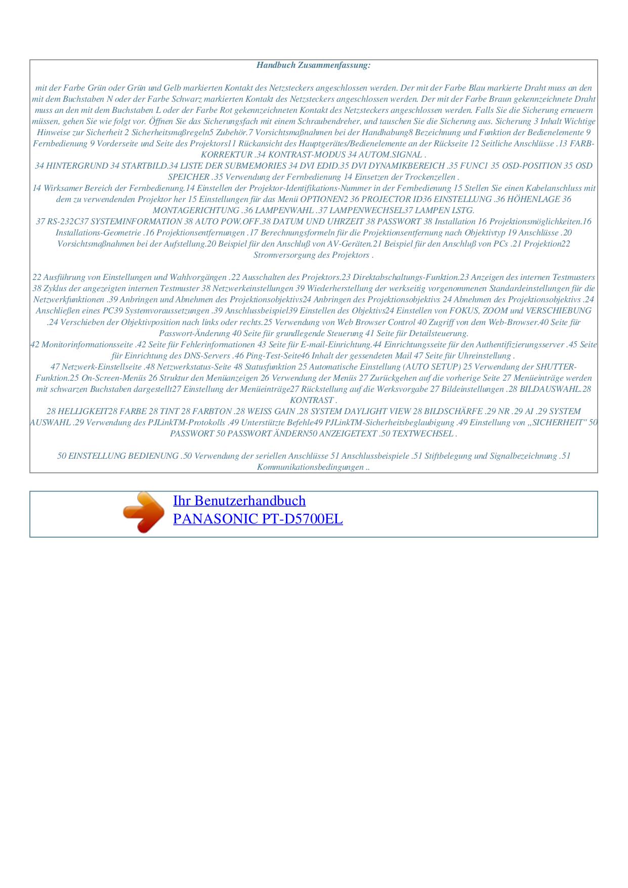 Panasonic Projector PT-D5700EL pdf page preview