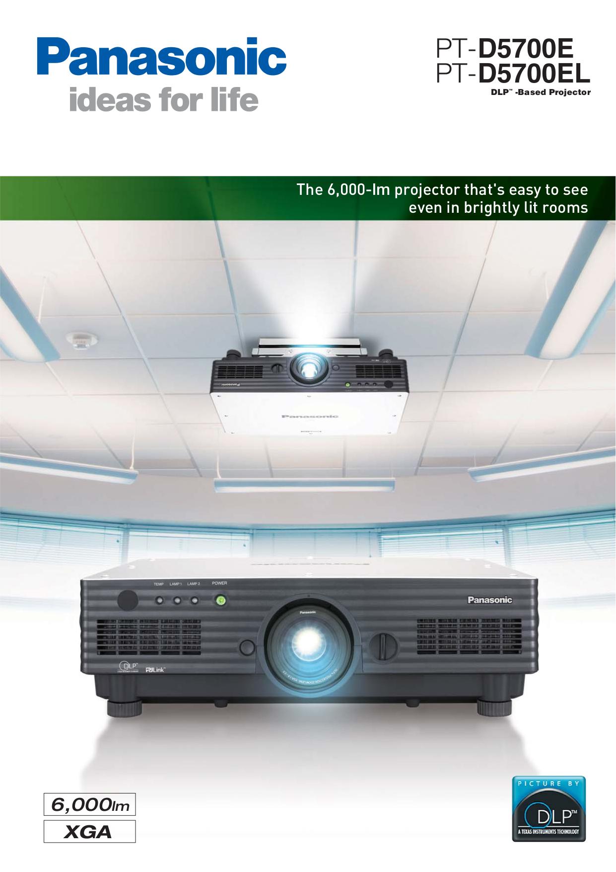 pdf for Panasonic Projector PT-D5700EL manual