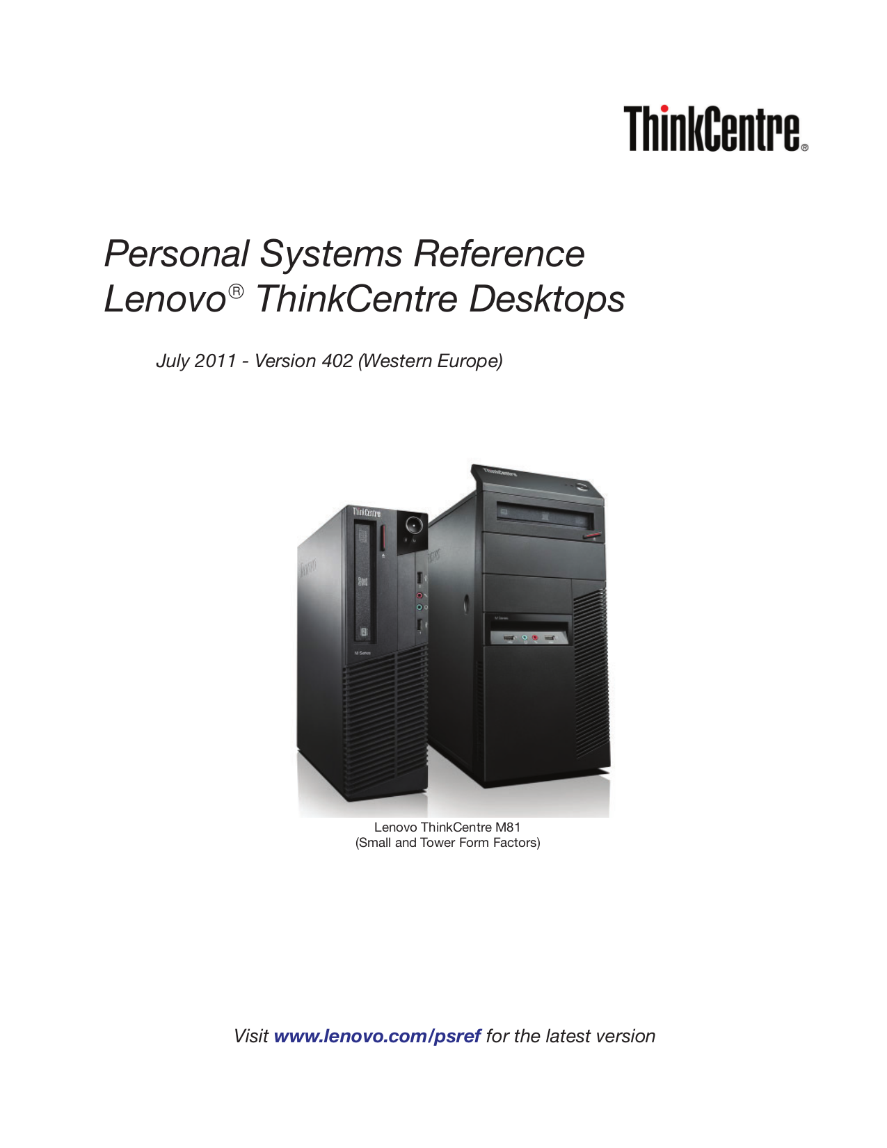 pdf for Lenovo Desktop ThinkCentre M81 0385 manual