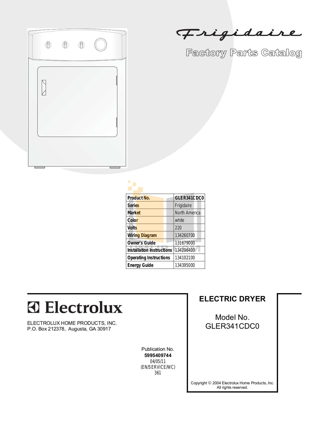 pdf for Frigidaire Dryer GLER341CDC0 manual