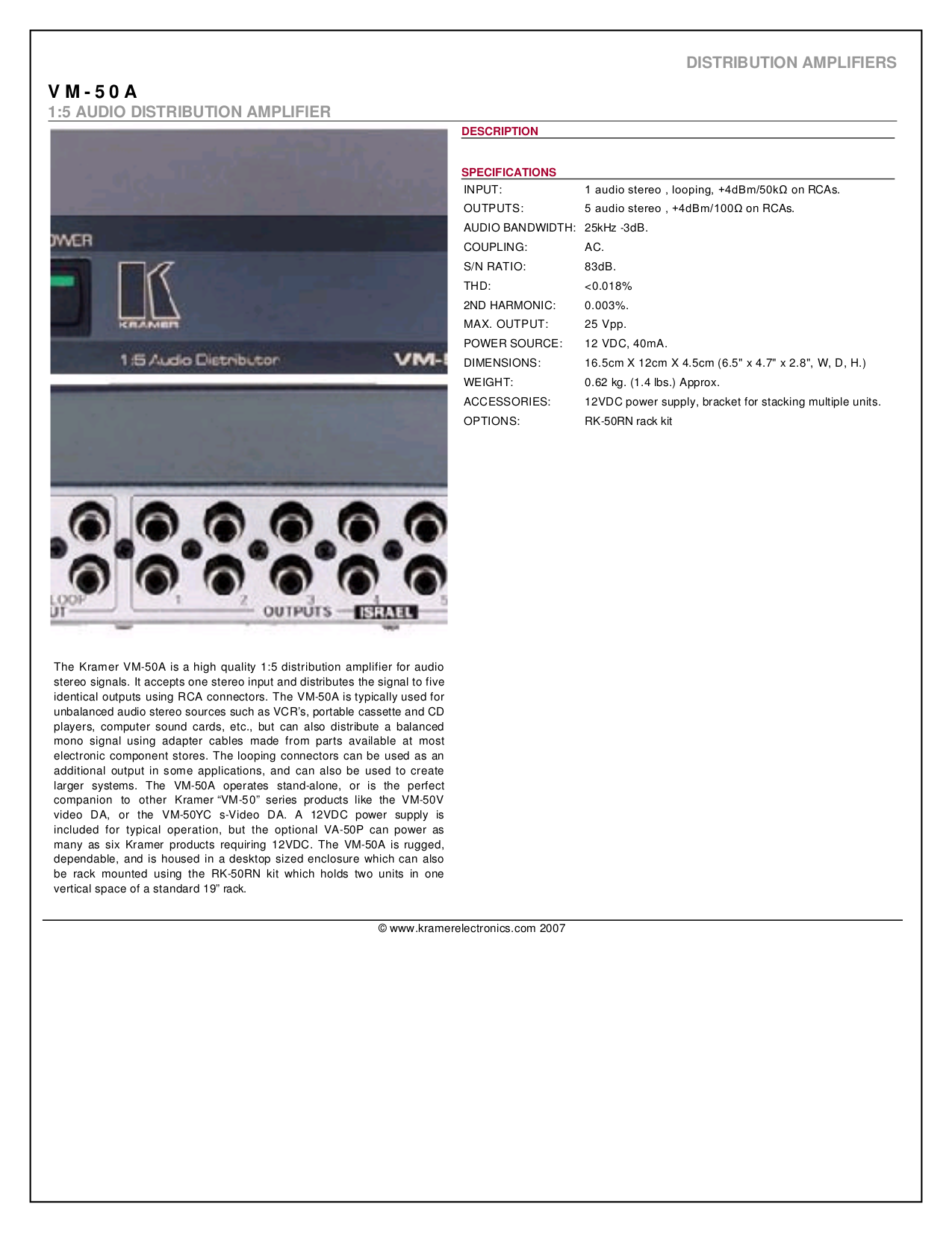 pdf for Kramer Other VM-50A Distribution Amplifiers manual
