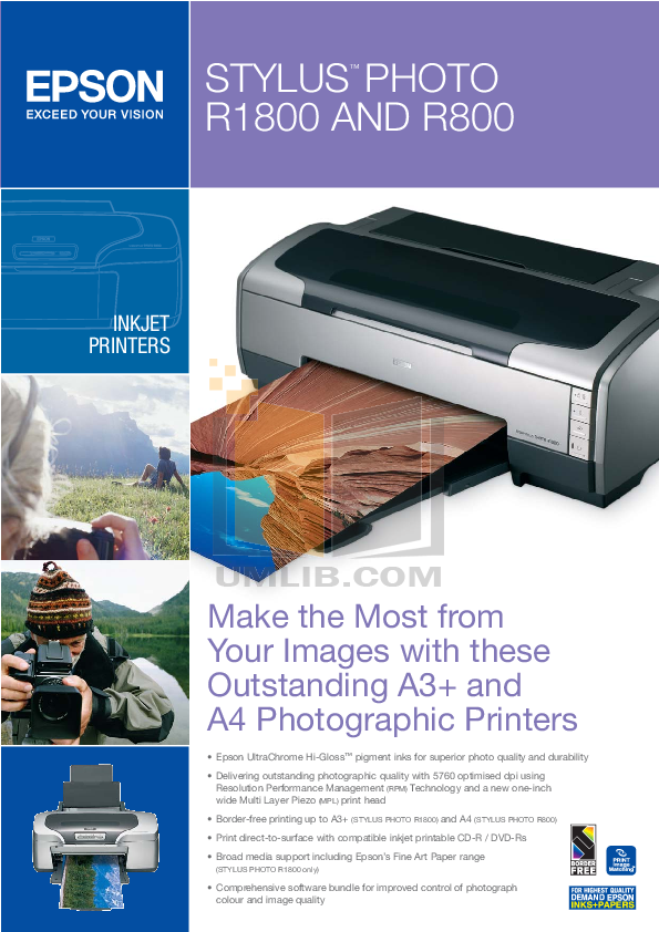 Download free pdf for Epson Stylus Photo R800 Printer manual