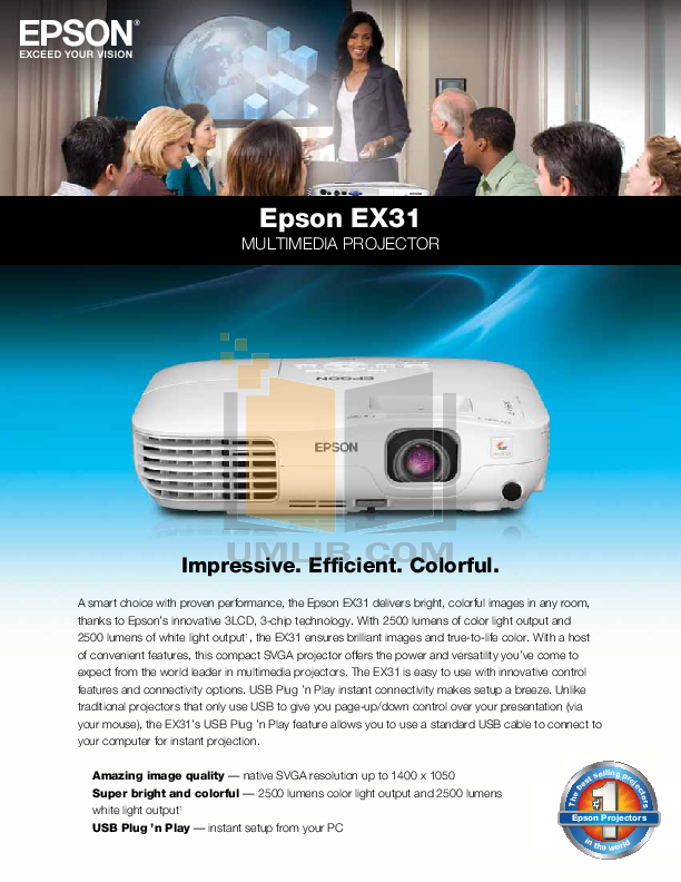 pdf for Epson Projector EX31 manual