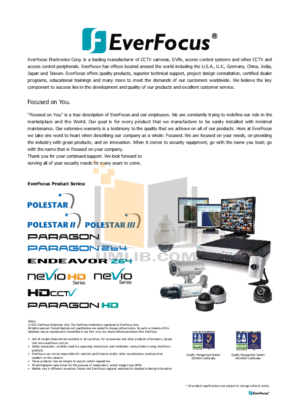 pdf for EverFocus Security Camera EPTZ500 manual