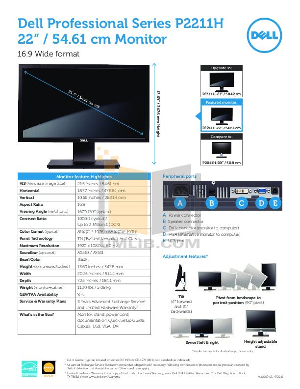 pdf for Dell Monitor P2211H manual