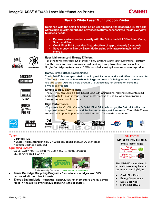 Download free pdf for canon imageclass mf4450 multifunction.