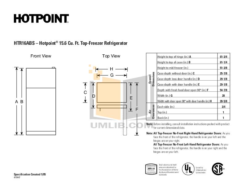 pdf for Hotpoint Refrigerator HTR16ABSL manual