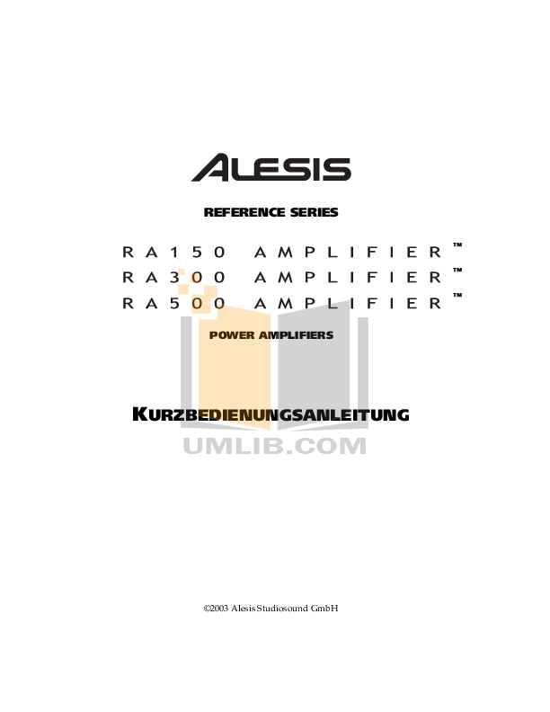 pdf for Alesis Amp RA300 manual