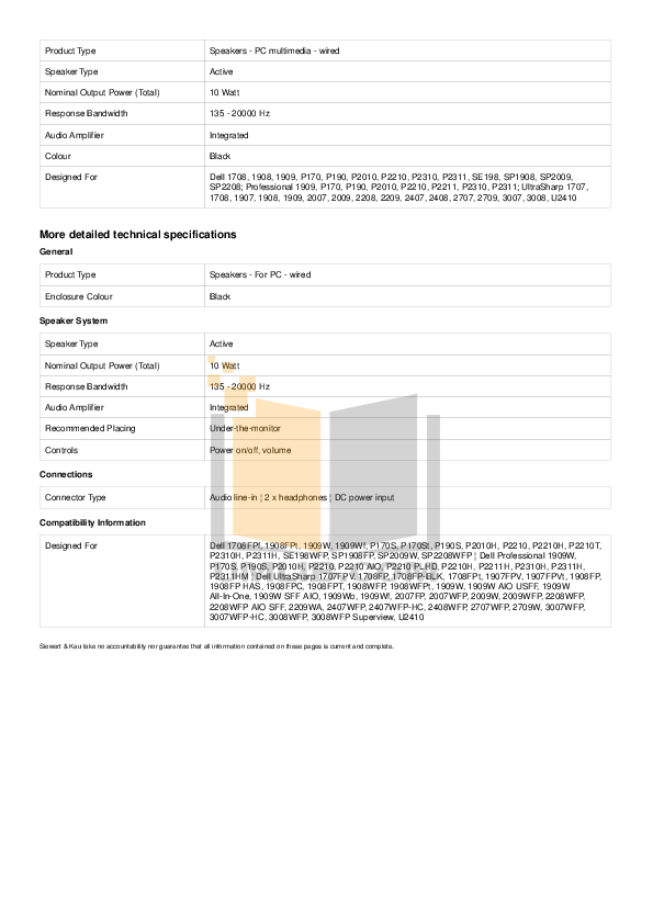 Dell Monitor SP2009W pdf page preview