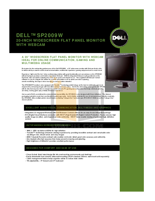 pdf for Dell Monitor SP2009W manual