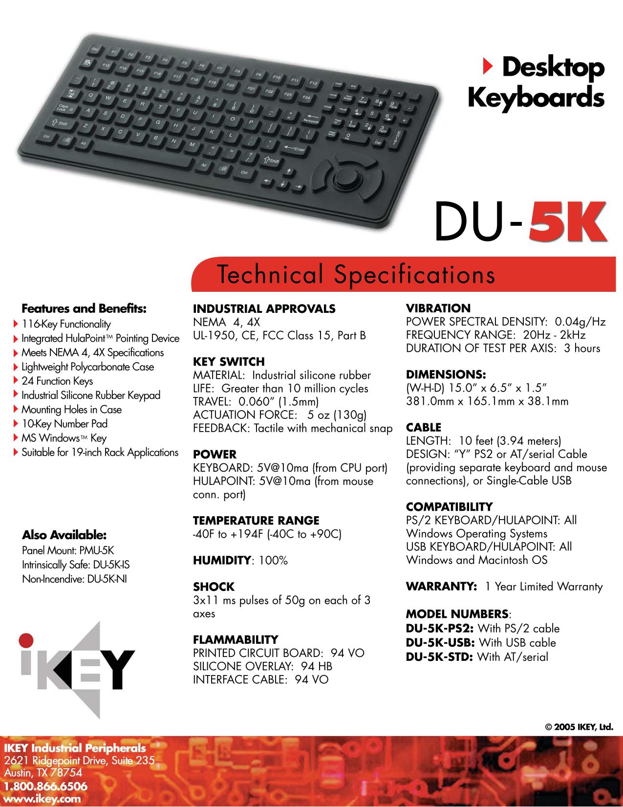 pdf for iKey Keyboard DU-5K manual