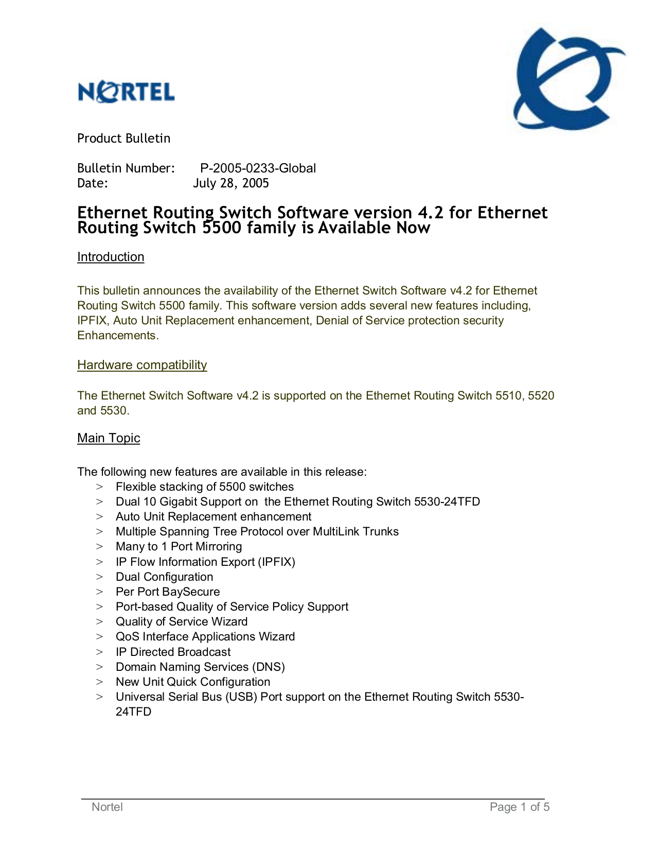 pdf for Nortel Router 5500 manual