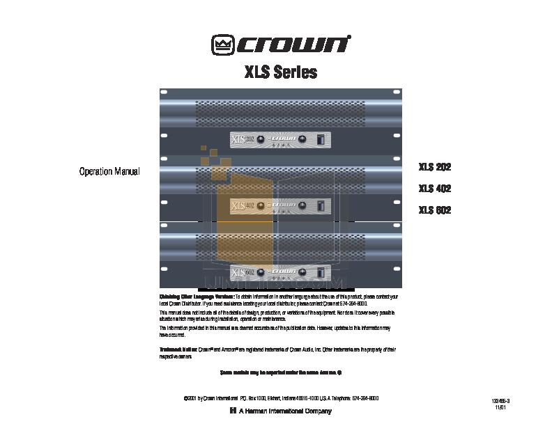 pdf for Crown Other XLS 3U Rack Unit manual