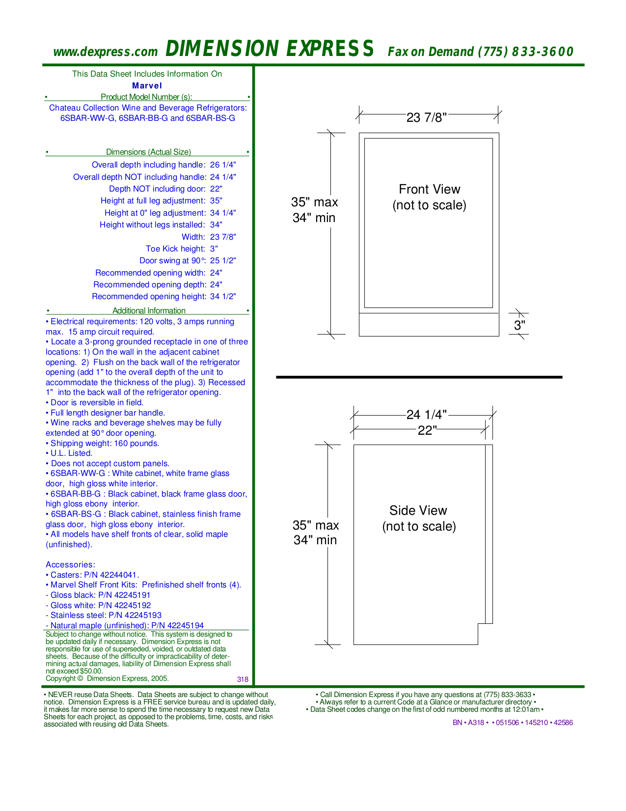 pdf for Marvel Refrigerator 6SBAR-BB-G manual