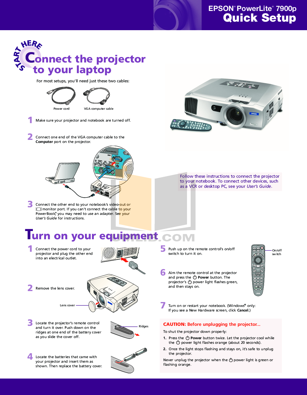 pdf for Epson Projector PowerLite 7900p manual