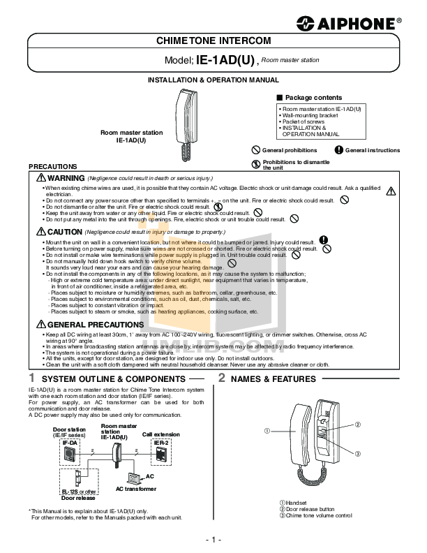 pdf for Aiphone Other IE-1AD Intercoms manual