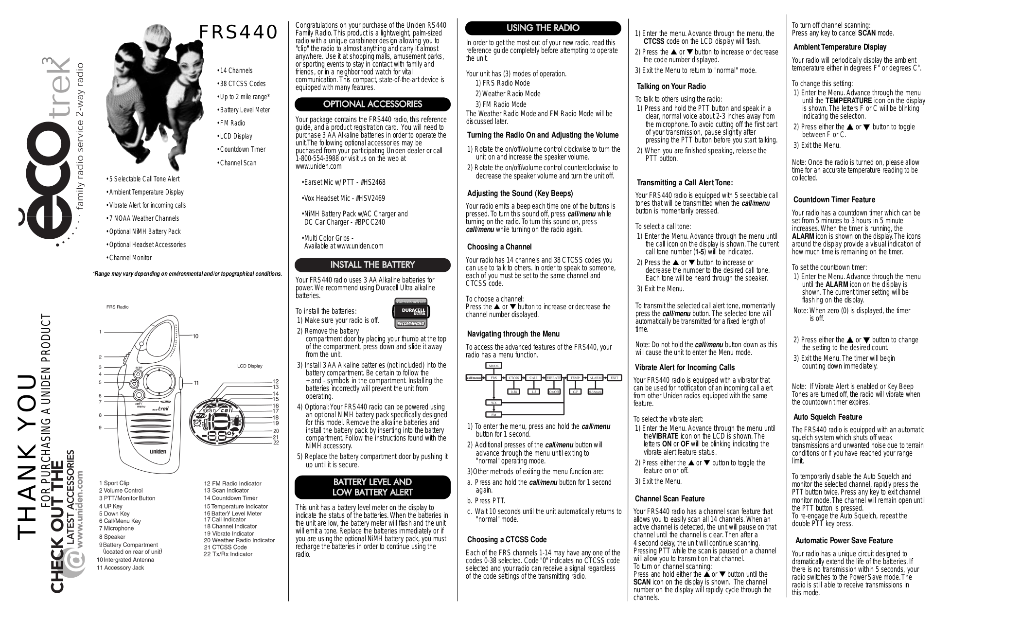 pdf for Uniden 2-way Radio FRS440 manual