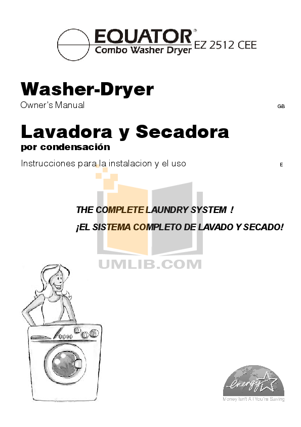 pdf for Equator Washer EZ3612CEE manual