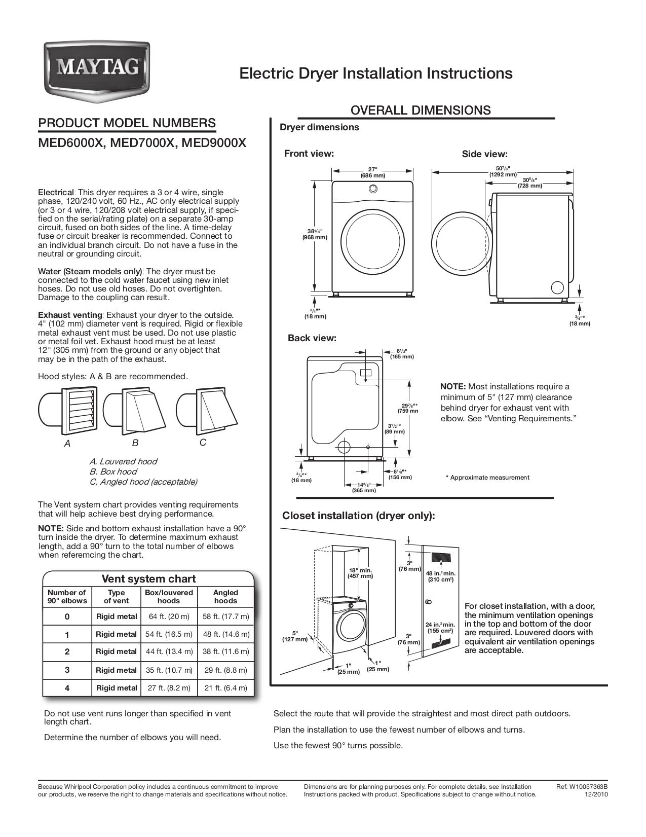download free pdf for maytag med6000x dryer manual rh umlib com Maytag Dryer Troubleshooting Maytag Dryer Troubleshooting